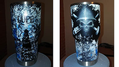Custom painted yeti tumbler cup Oilfield Trash skull