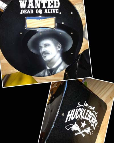 Custom painted pancake welding hood Doc Holiday