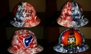 Custom airbrushed Texans oilfield trash themed hard hat