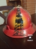 custom hard hat with derrick and sunset