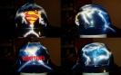 airbrushed superman hard hat with lightning