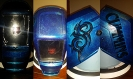 custom welding helmet blue with tribal and metal flake finish